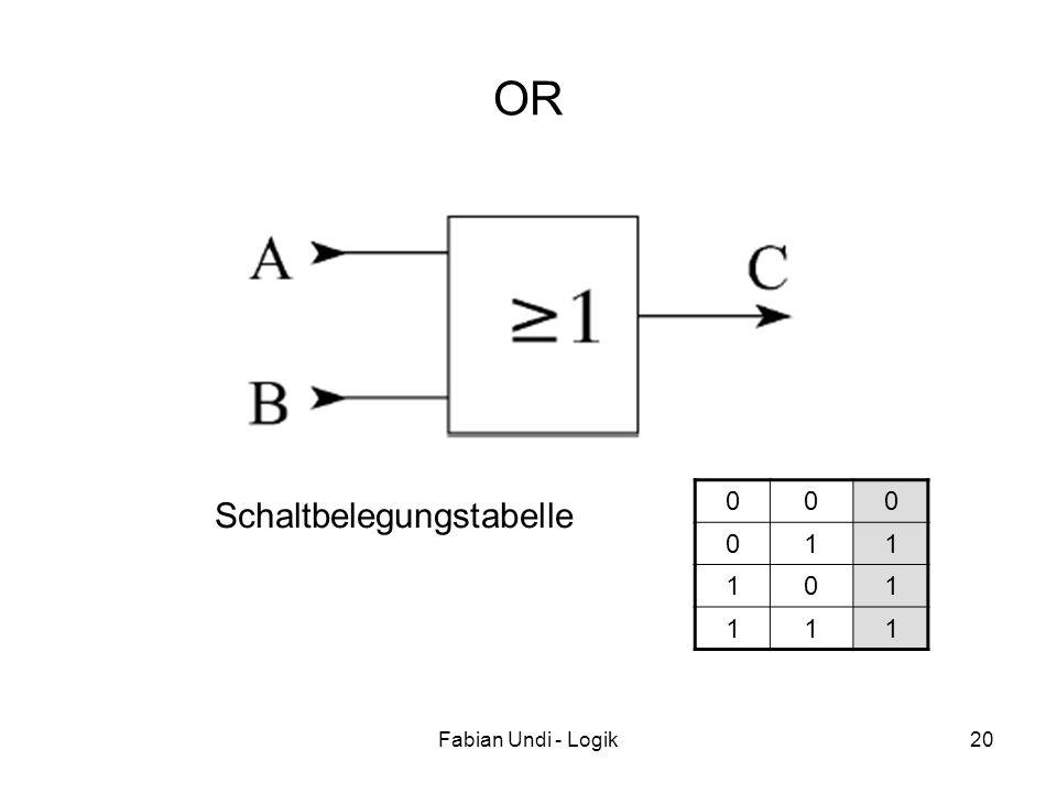OR 1 Schaltbelegungstabelle Fabian Undi - Logik