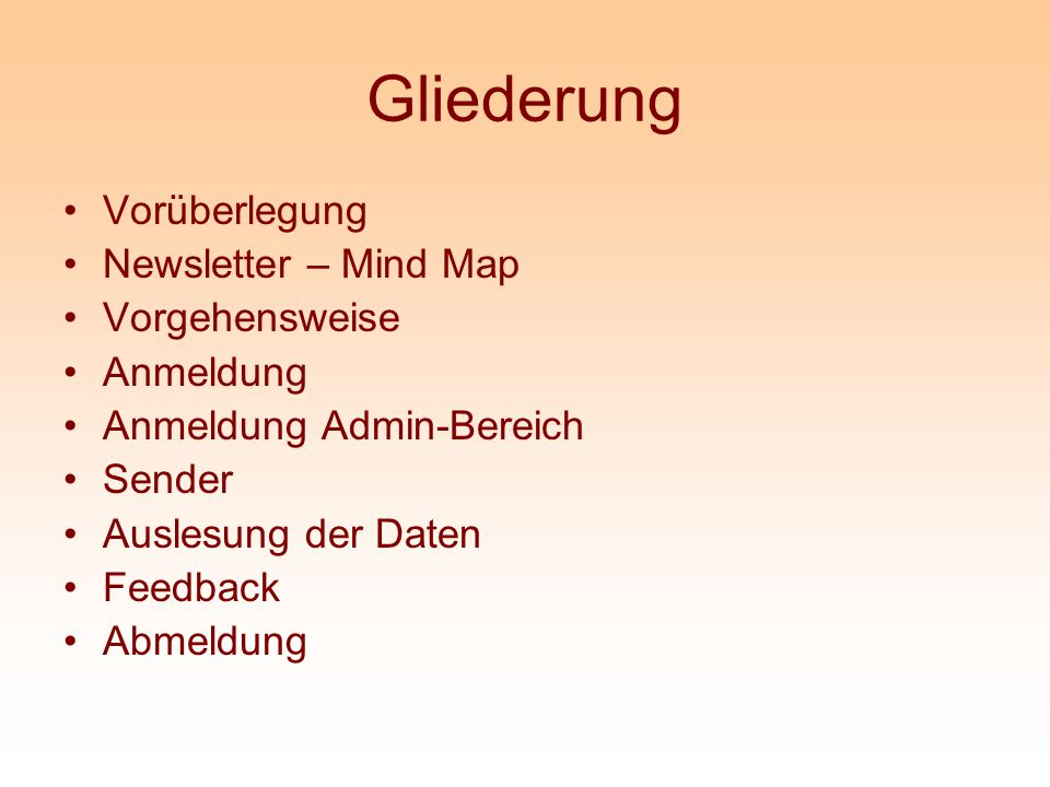 Gliederung Vorüberlegung Newsletter – Mind Map Vorgehensweise