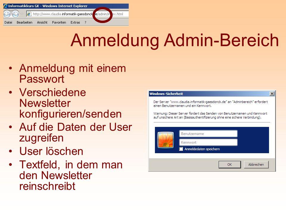Anmeldung Admin-Bereich
