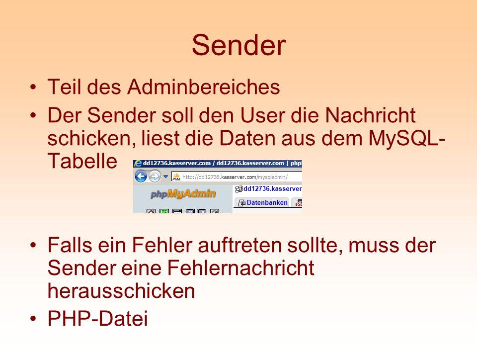 Sender Teil des Adminbereiches