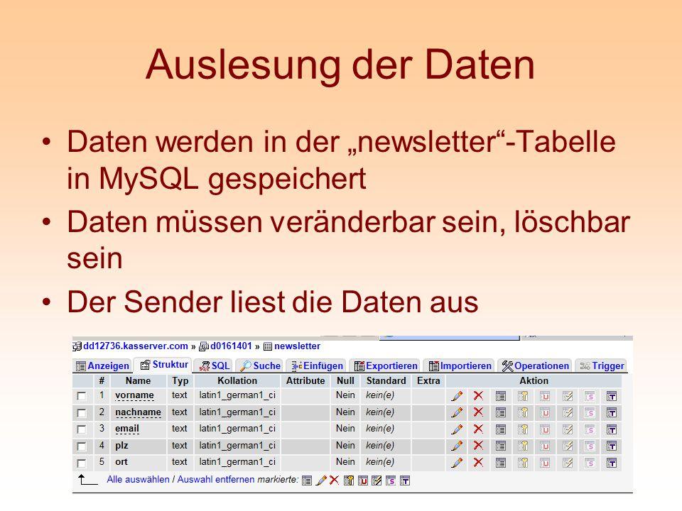 """Auslesung der Daten Daten werden in der """"newsletter -Tabelle in MySQL gespeichert. Daten müssen veränderbar sein, löschbar sein."""