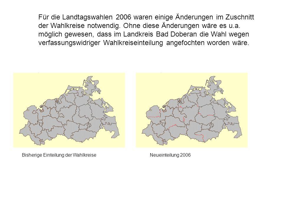 Für die Landtagswahlen 2006 waren einige Änderungen im Zuschnitt der Wahlkreise notwendig. Ohne diese Änderungen wäre es u.a. möglich gewesen, dass im Landkreis Bad Doberan die Wahl wegen verfassungswidriger Wahlkreiseinteilung angefochten worden wäre.