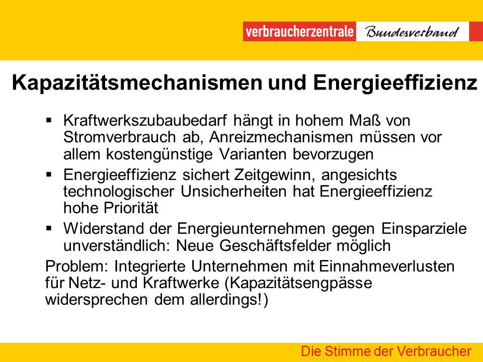 Kapazitätsmechanismen und Energieeffizienz