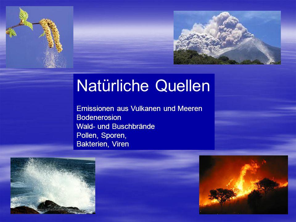 Natürliche Quellen Emissionen aus Vulkanen und Meeren Bodenerosion