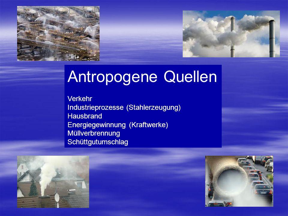 Antropogene Quellen Verkehr Industrieprozesse (Stahlerzeugung)