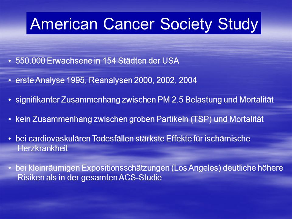 American Cancer Society Study
