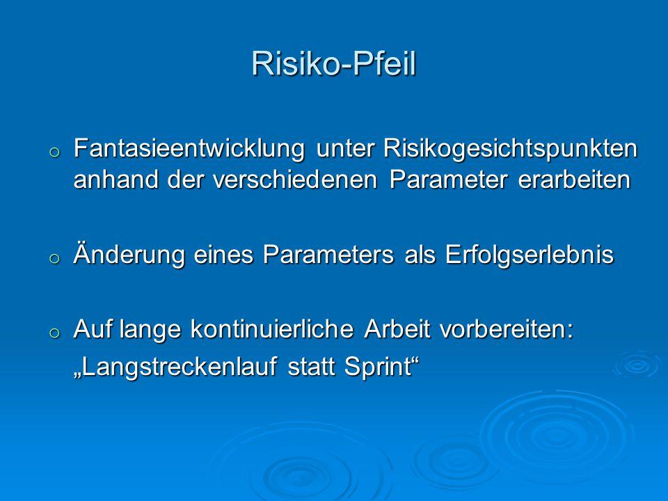 Risiko-Pfeil Fantasieentwicklung unter Risikogesichtspunkten anhand der verschiedenen Parameter erarbeiten.
