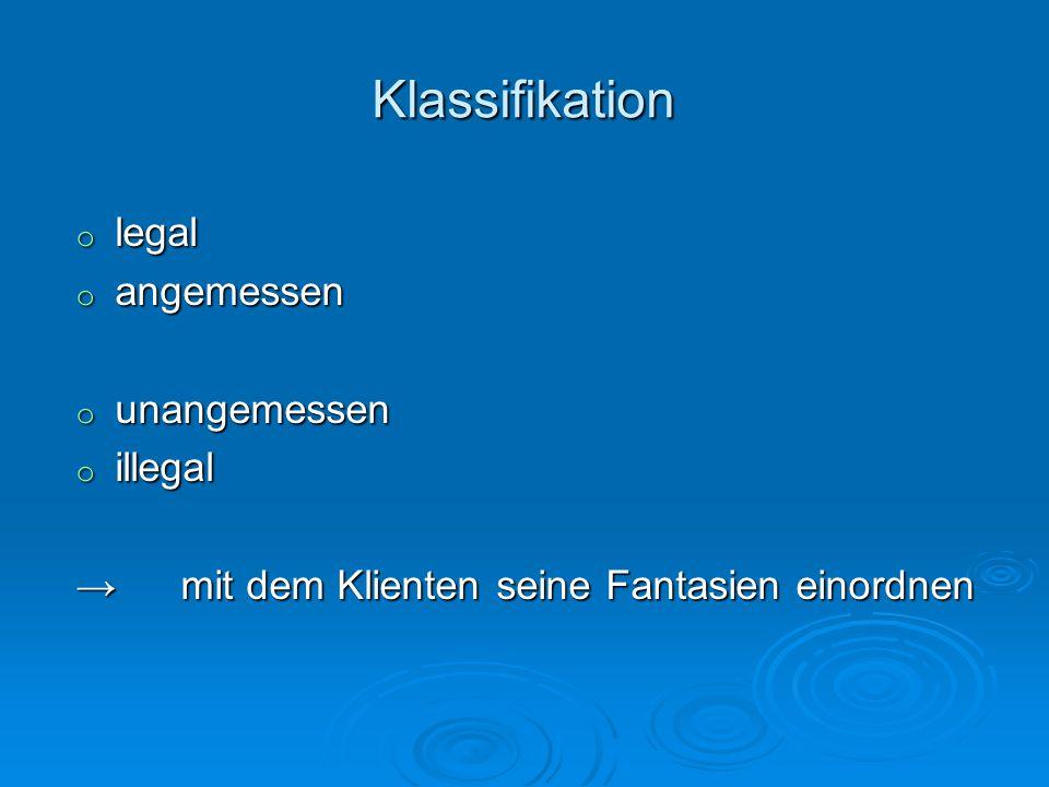 Klassifikation legal angemessen unangemessen illegal