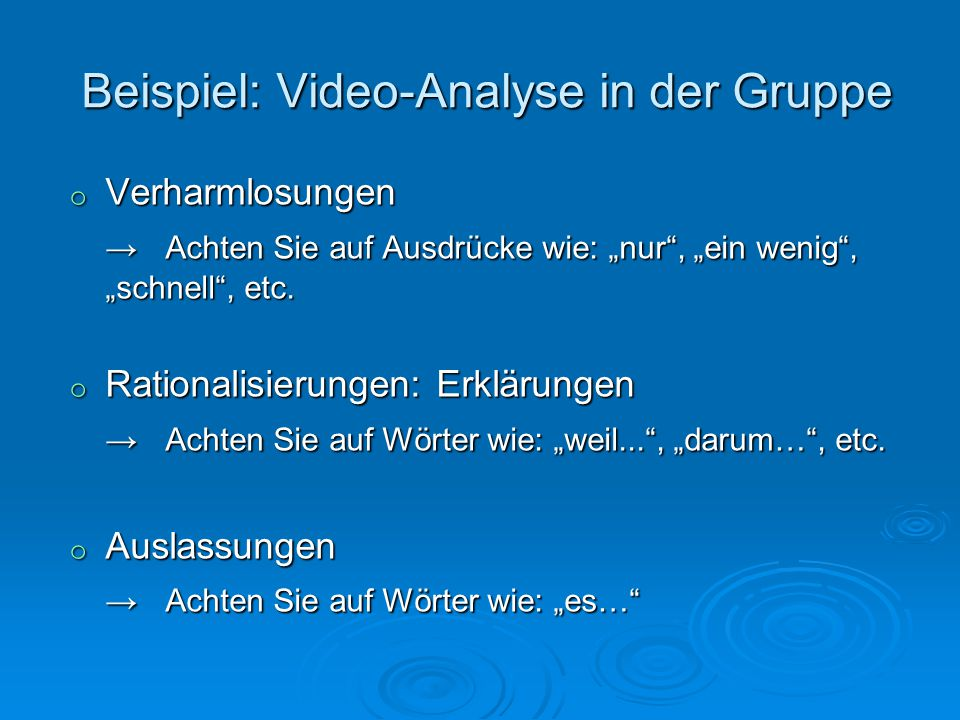 Beispiel: Video-Analyse in der Gruppe