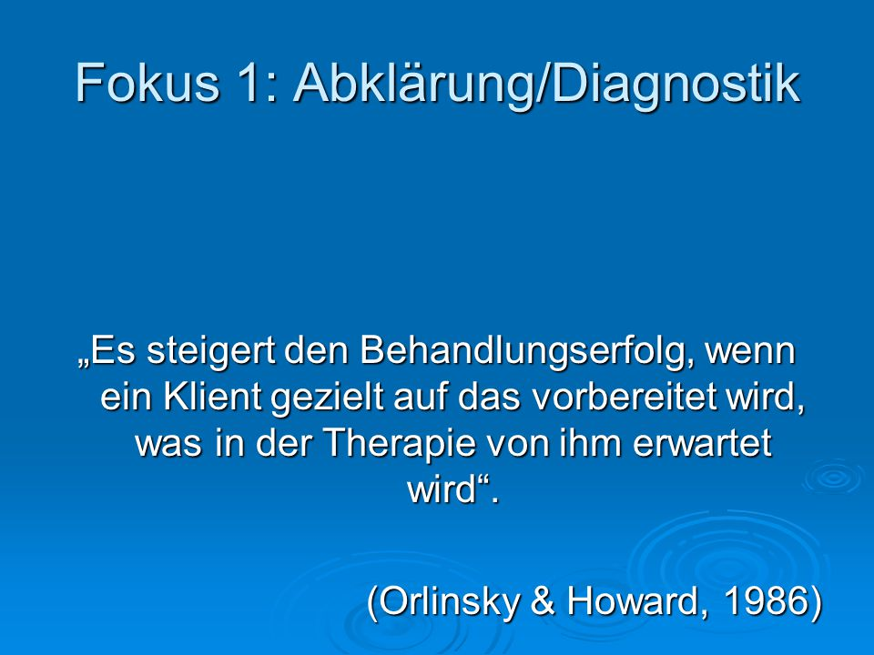 Fokus 1: Abklärung/Diagnostik