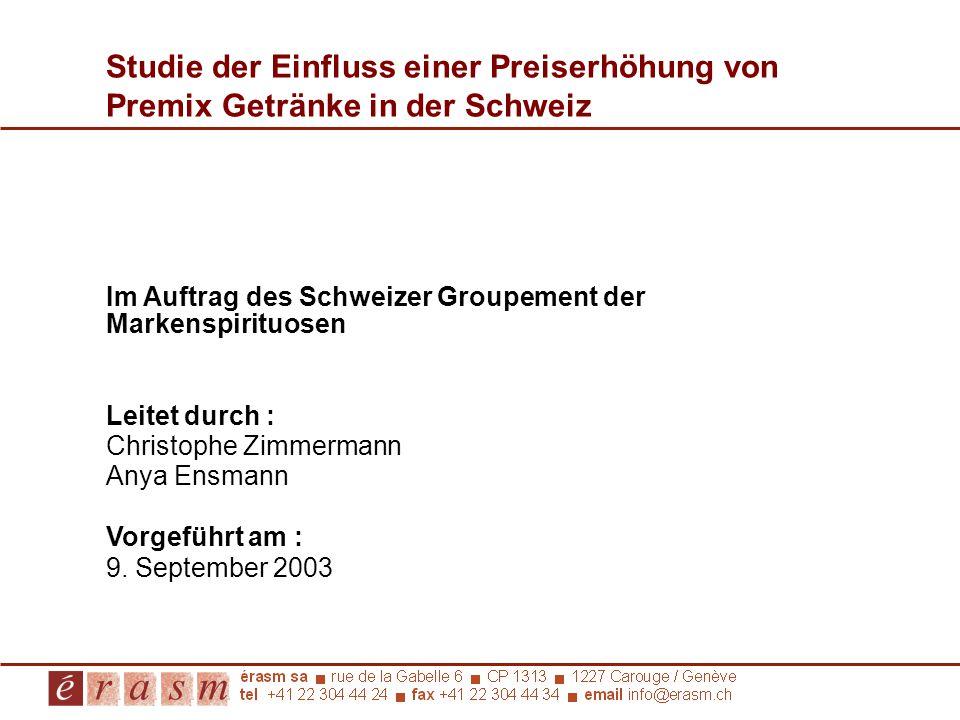 Studie der Einfluss einer Preiserhöhung von Premix Getränke in der Schweiz
