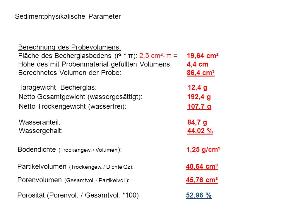 Sedimentphysikalische Parameter
