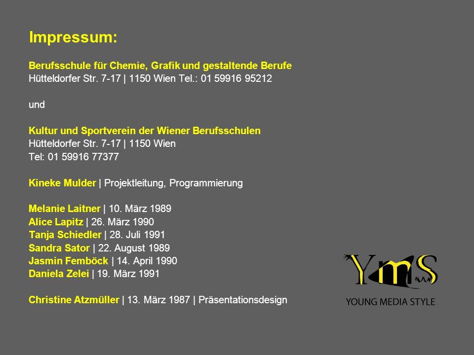 Impressum: Berufsschule für Chemie, Grafik und gestaltende Berufe
