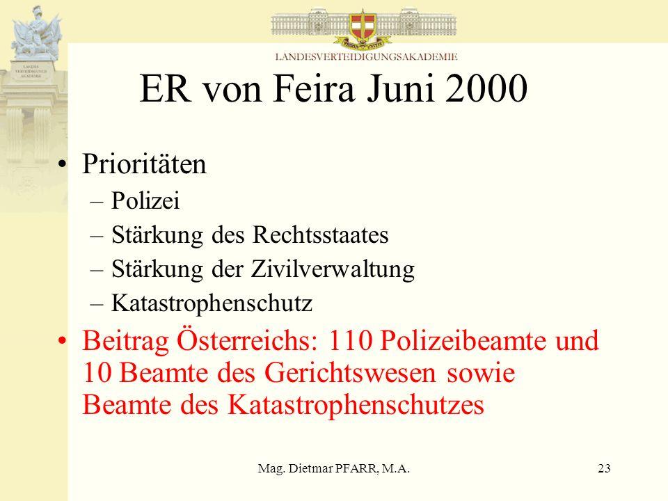 ER von Feira Juni 2000 Prioritäten