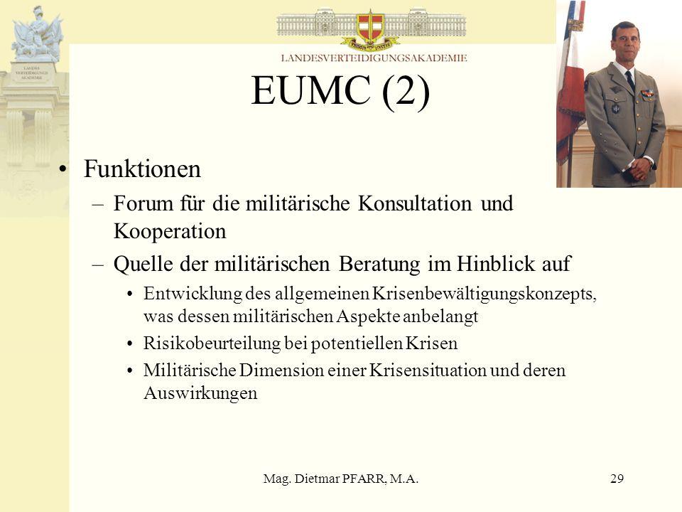 EUMC (2) Funktionen. Forum für die militärische Konsultation und Kooperation. Quelle der militärischen Beratung im Hinblick auf.