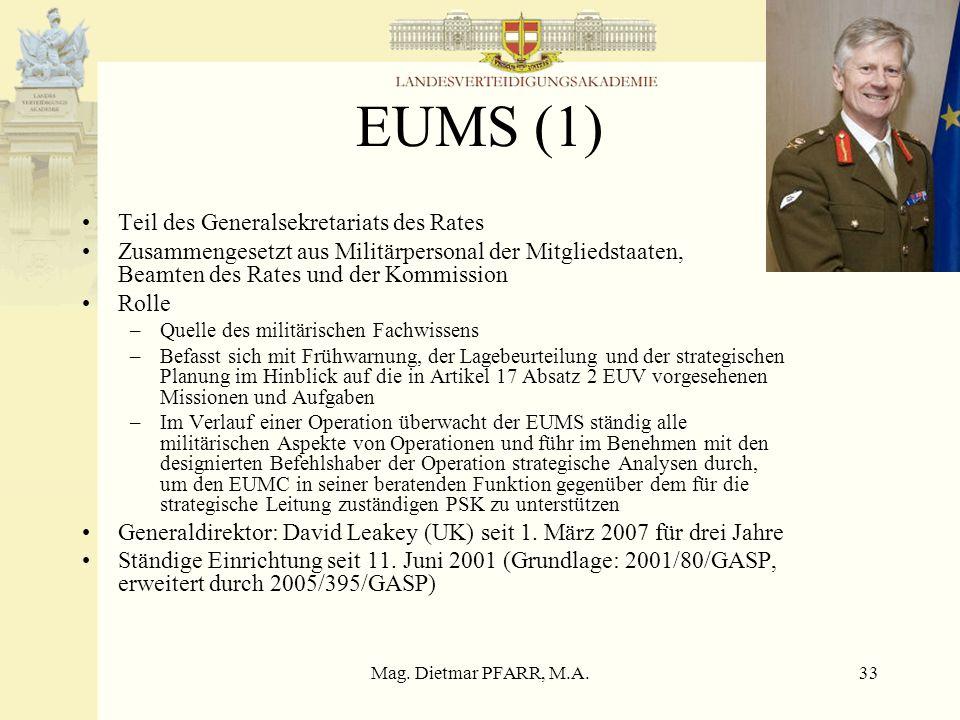 EUMS (1) Teil des Generalsekretariats des Rates