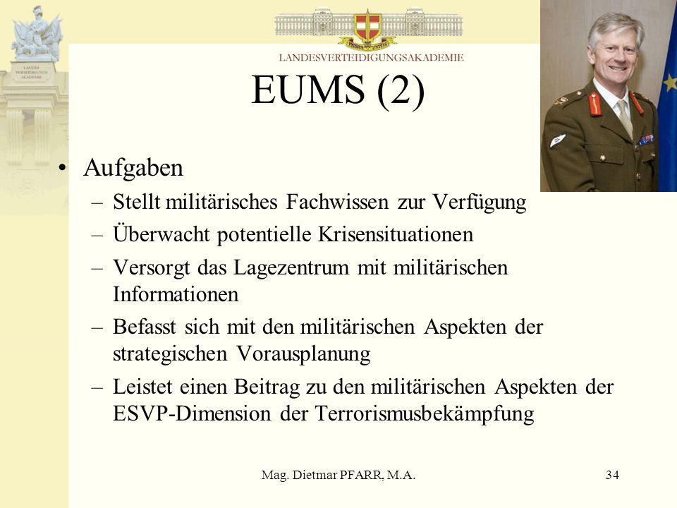 EUMS (2) Aufgaben Stellt militärisches Fachwissen zur Verfügung