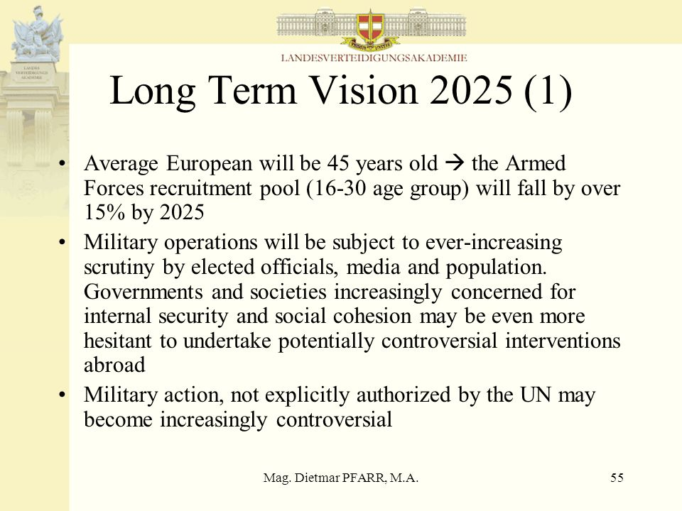 Long Term Vision 2025 (1) Average European will be 45 years old  the Armed Forces recruitment pool (16-30 age group) will fall by over 15% by 2025.