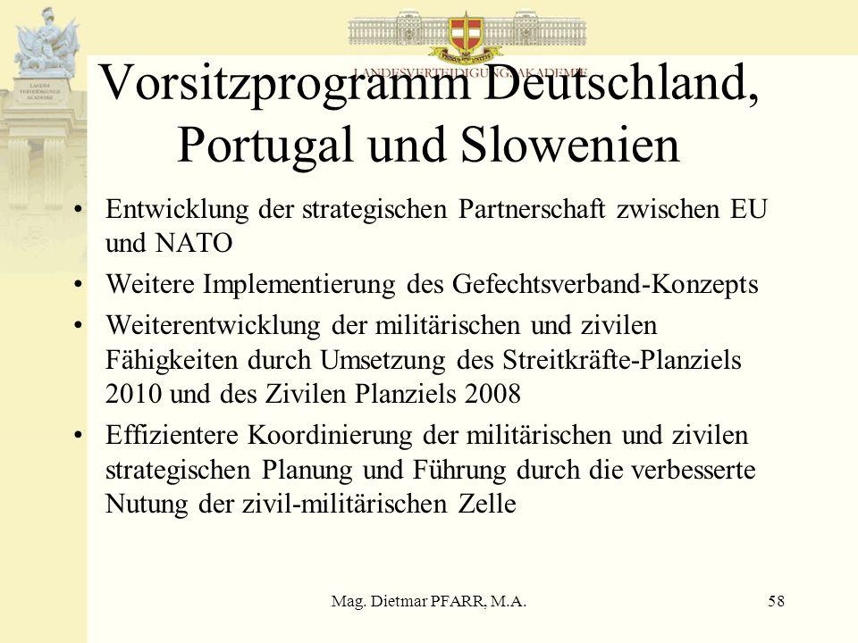 Vorsitzprogramm Deutschland, Portugal und Slowenien