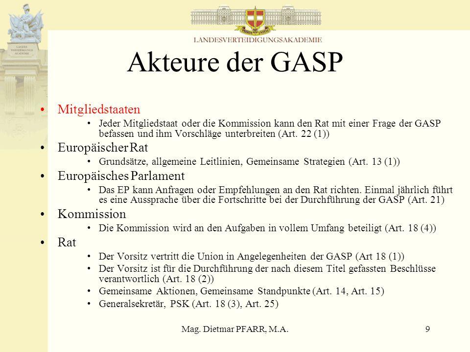 Akteure der GASP Mitgliedstaaten Europäischer Rat
