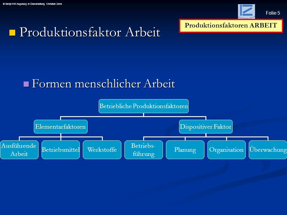 Produktionsfaktoren ARBEIT