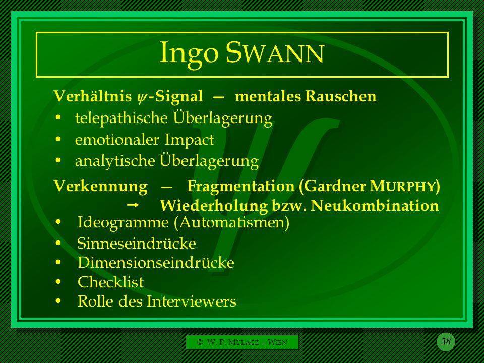Ingo SWANN Verhältnis  - Signal — mentales Rauschen