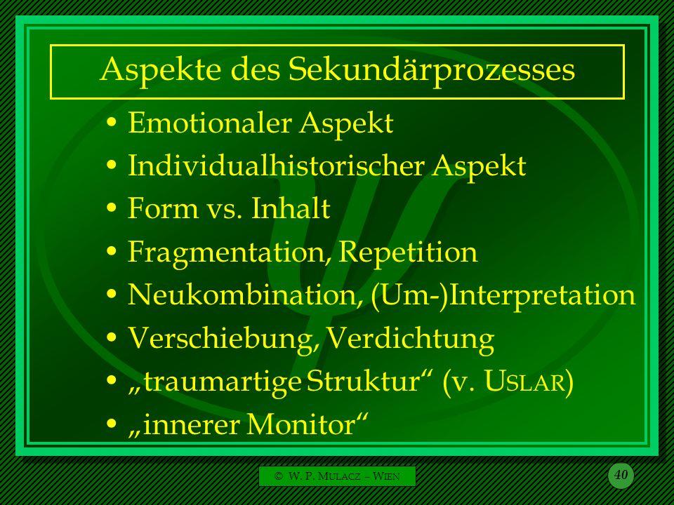 Aspekte des Sekundärprozesses
