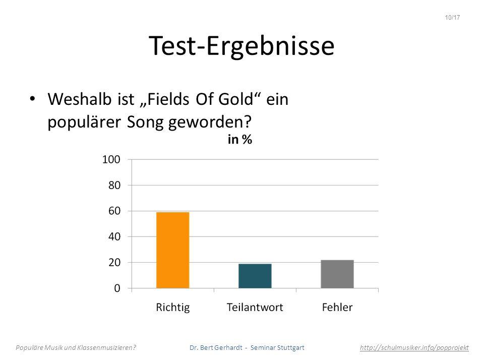 """10/17 Test-Ergebnisse. Weshalb ist """"Fields Of Gold ein populärer Song geworden"""