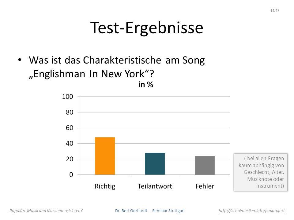 """11/17 Test-Ergebnisse. Was ist das Charakteristische am Song """"Englishman In New York"""