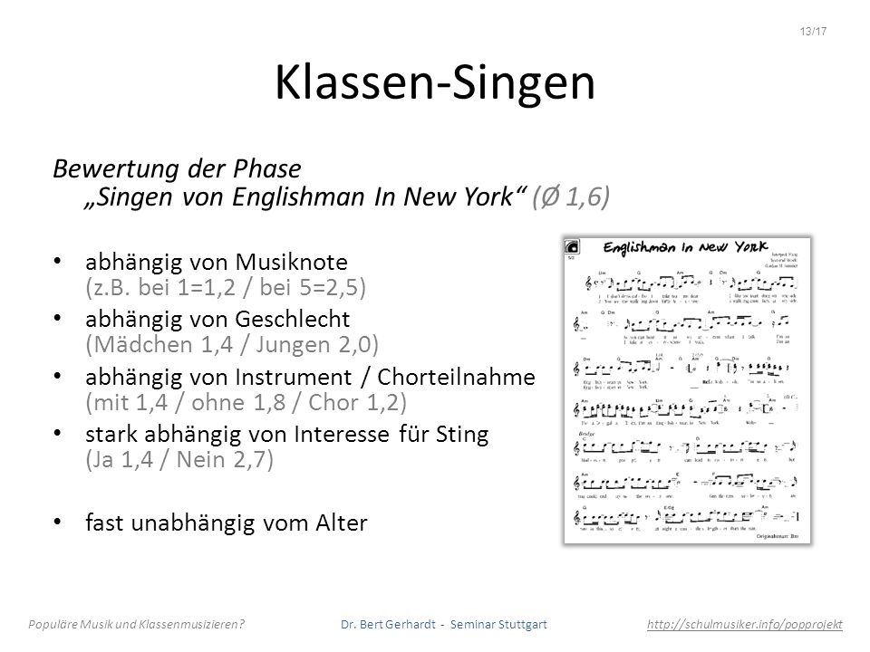 """13/17Klassen-Singen. Bewertung der Phase """"Singen von Englishman In New York (Ø 1,6) abhängig von Musiknote (z.B. bei 1=1,2 / bei 5=2,5)"""