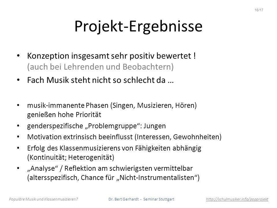 16/17Projekt-Ergebnisse. Konzeption insgesamt sehr positiv bewertet ! (auch bei Lehrenden und Beobachtern)
