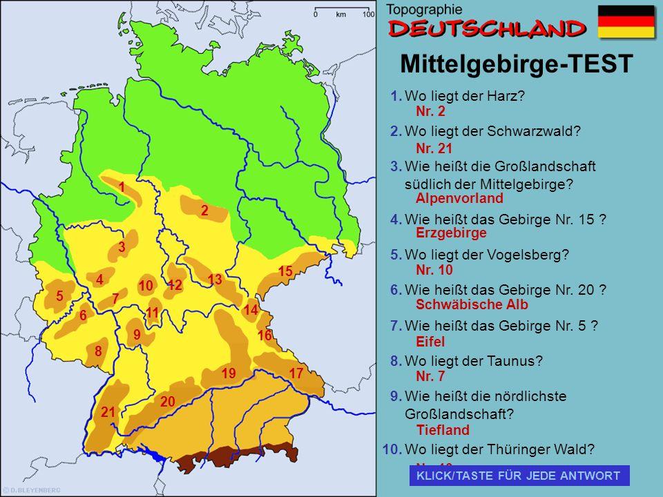 Mittelgebirge-TEST Wo liegt der Harz Wo liegt der Schwarzwald