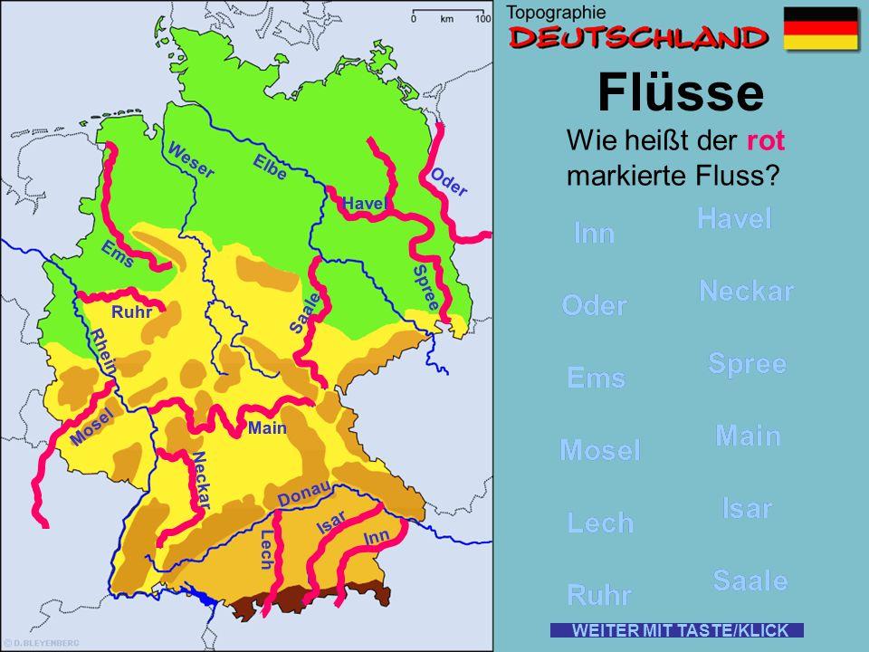 Flüsse Wie heißt der rot markierte Fluss Havel Havel Inn Inn Neckar