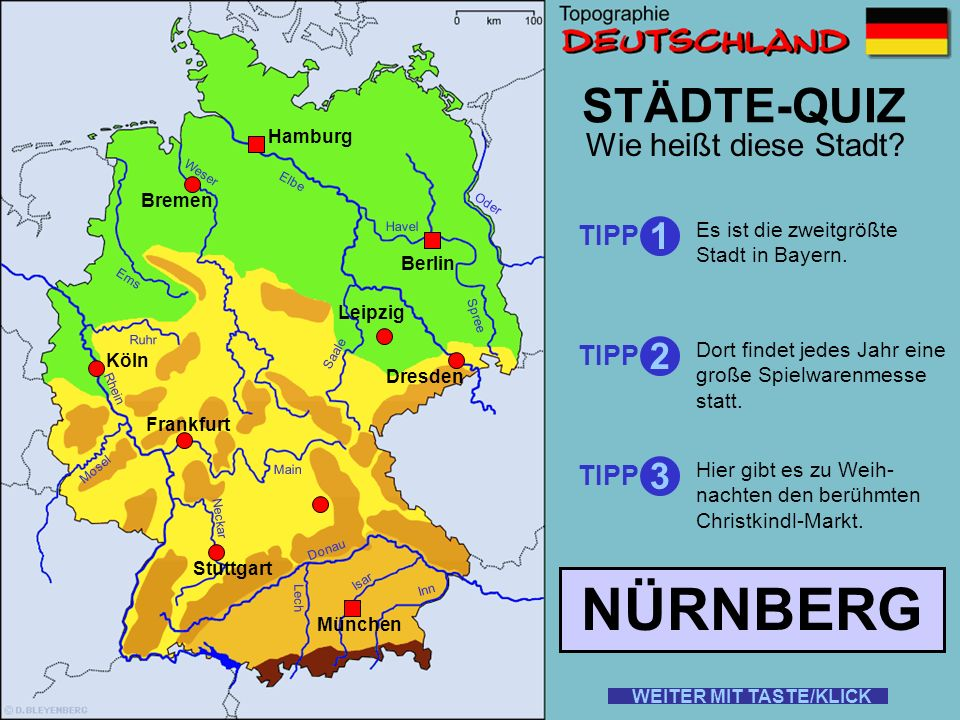 NÜRNBERG STÄDTE-QUIZ 1 2 3 Wie heißt diese Stadt TIPP TIPP TIPP