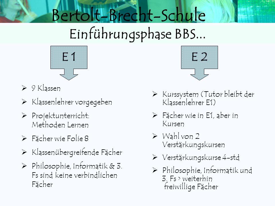 Einführungsphase BBS... E 1 E 2 9 Klassen Klassenlehrer vorgegeben