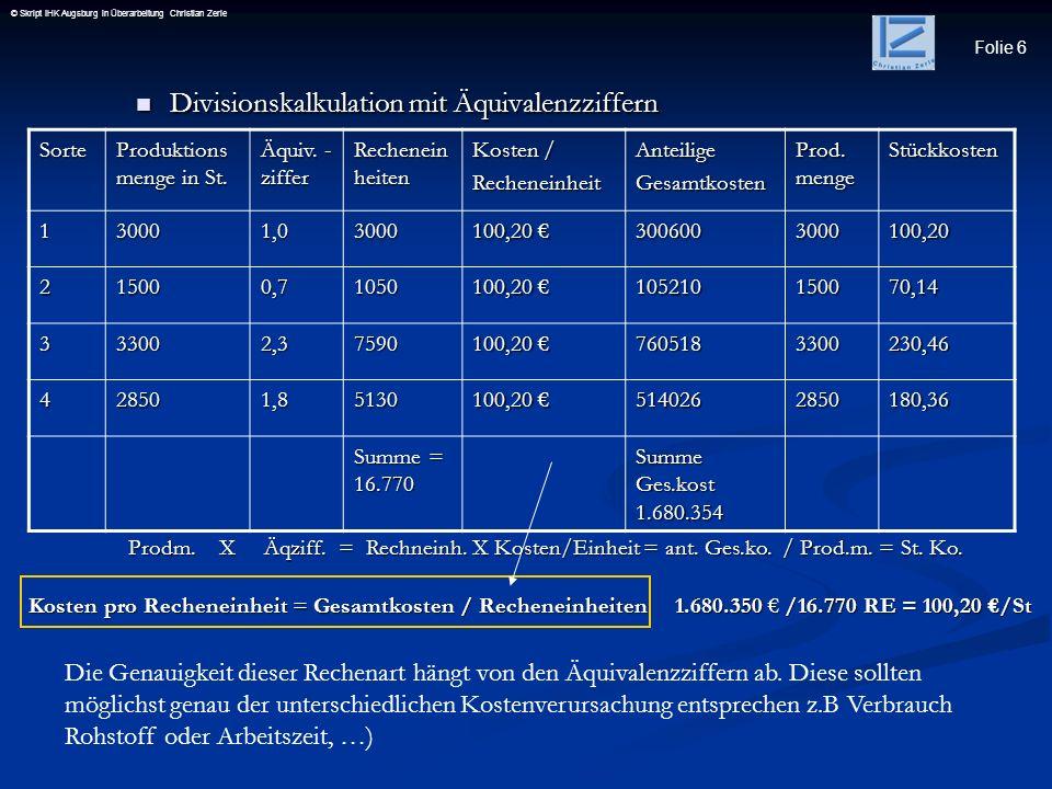 Divisionskalkulation mit Äquivalenzziffern
