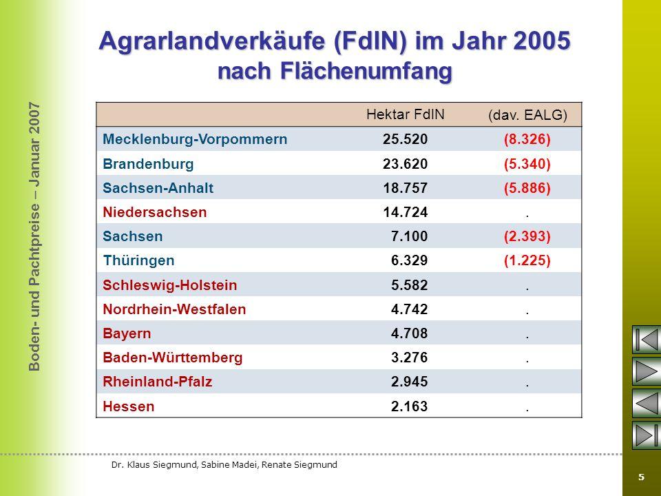 Agrarlandverkäufe (FdlN) im Jahr 2005 nach Flächenumfang