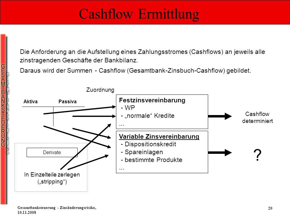 Cashflow Ermittlung Die Anforderung an die Aufstellung eines Zahlungsstromes (Cashflows) an jeweils alle zinstragenden Geschäfte der Bankbilanz.