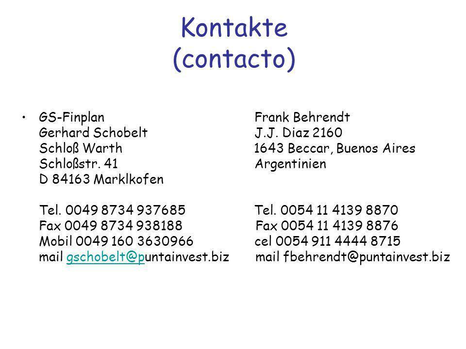 Kontakte (contacto) GS-Finplan Frank Behrendt