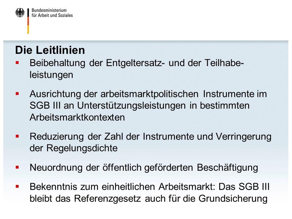 Die Leitlinien Beibehaltung der Entgeltersatz- und der Teilhabe- leistungen.