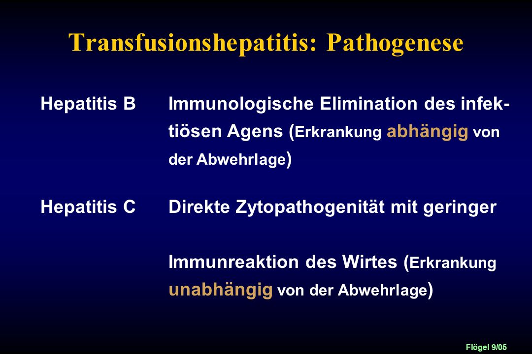 Transfusionshepatitis: Pathogenese