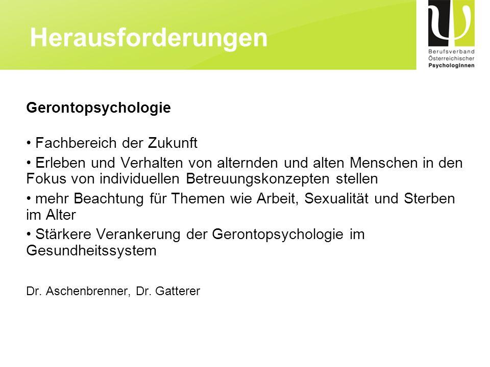 Herausforderungen Gerontopsychologie Fachbereich der Zukunft