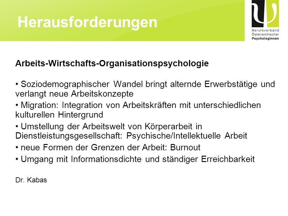 Herausforderungen Arbeits-Wirtschafts-Organisationspsychologie