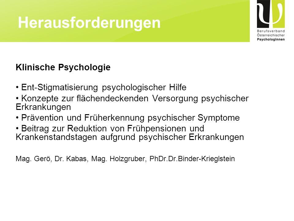 Herausforderungen Klinische Psychologie