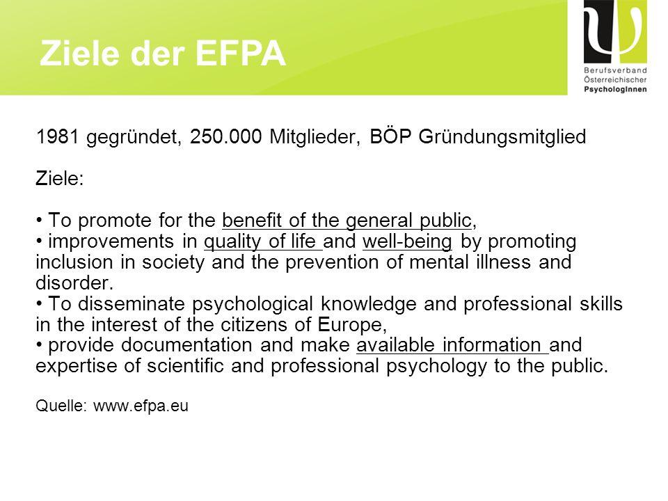 Ziele der EFPA 1981 gegründet, 250.000 Mitglieder, BÖP Gründungsmitglied. Ziele: To promote for the benefit of the general public,