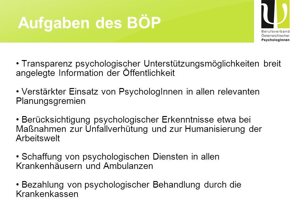 Aufgaben des BÖP Transparenz psychologischer Unterstützungsmöglichkeiten breit angelegte Information der Öffentlichkeit.