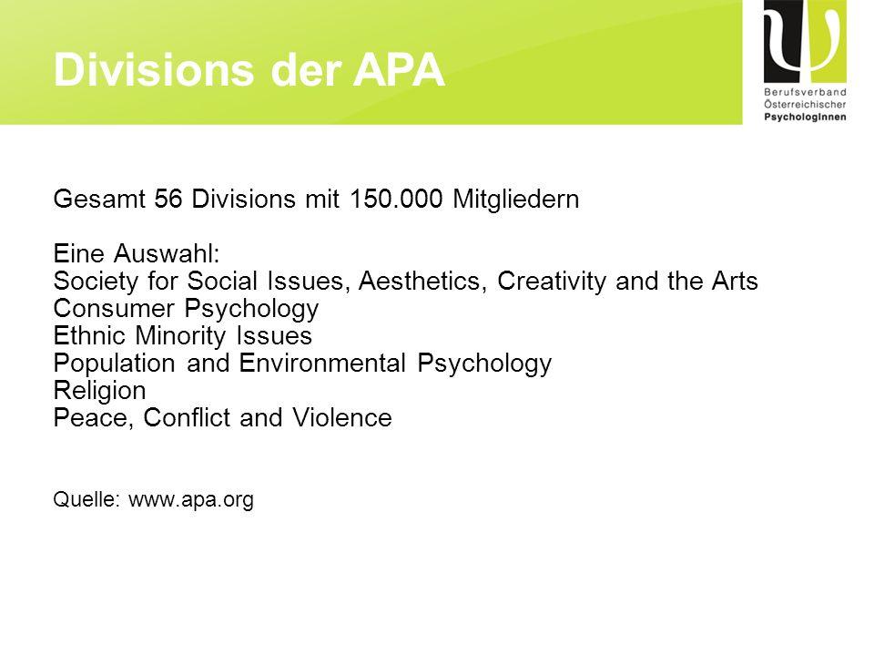 Divisions der APA Gesamt 56 Divisions mit 150.000 Mitgliedern