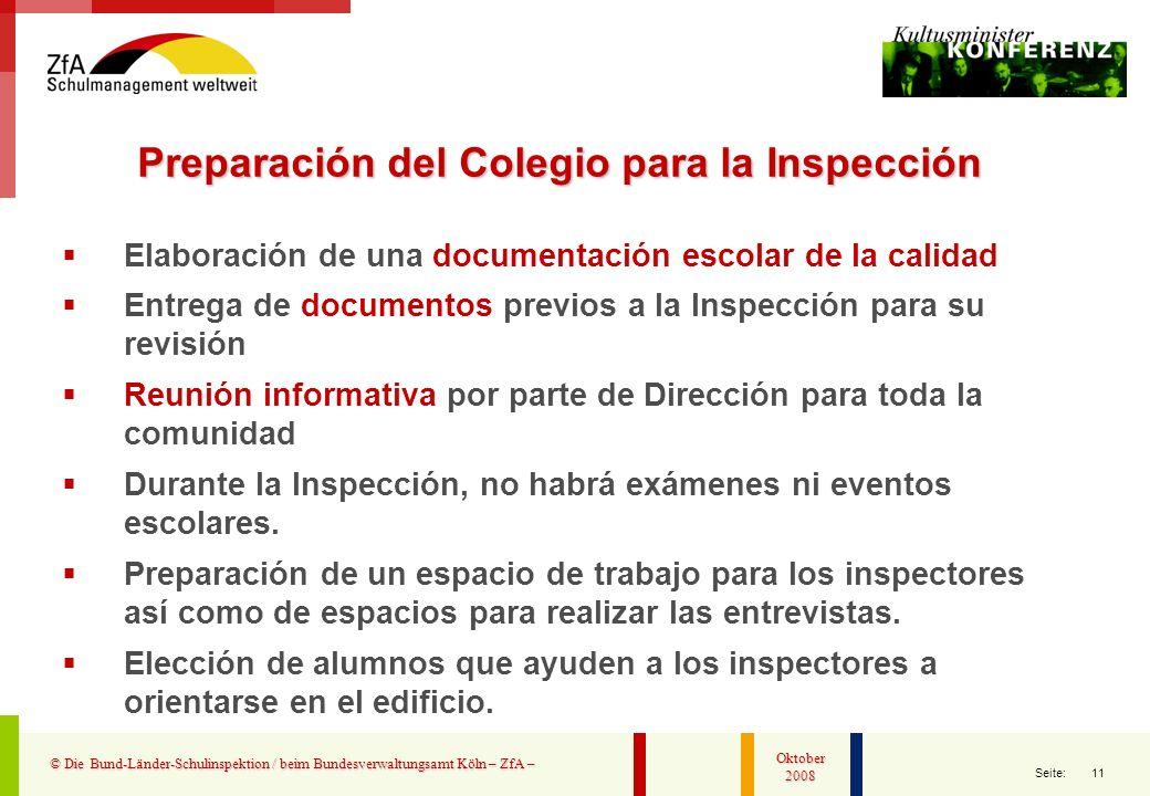 Preparación del Colegio para la Inspección