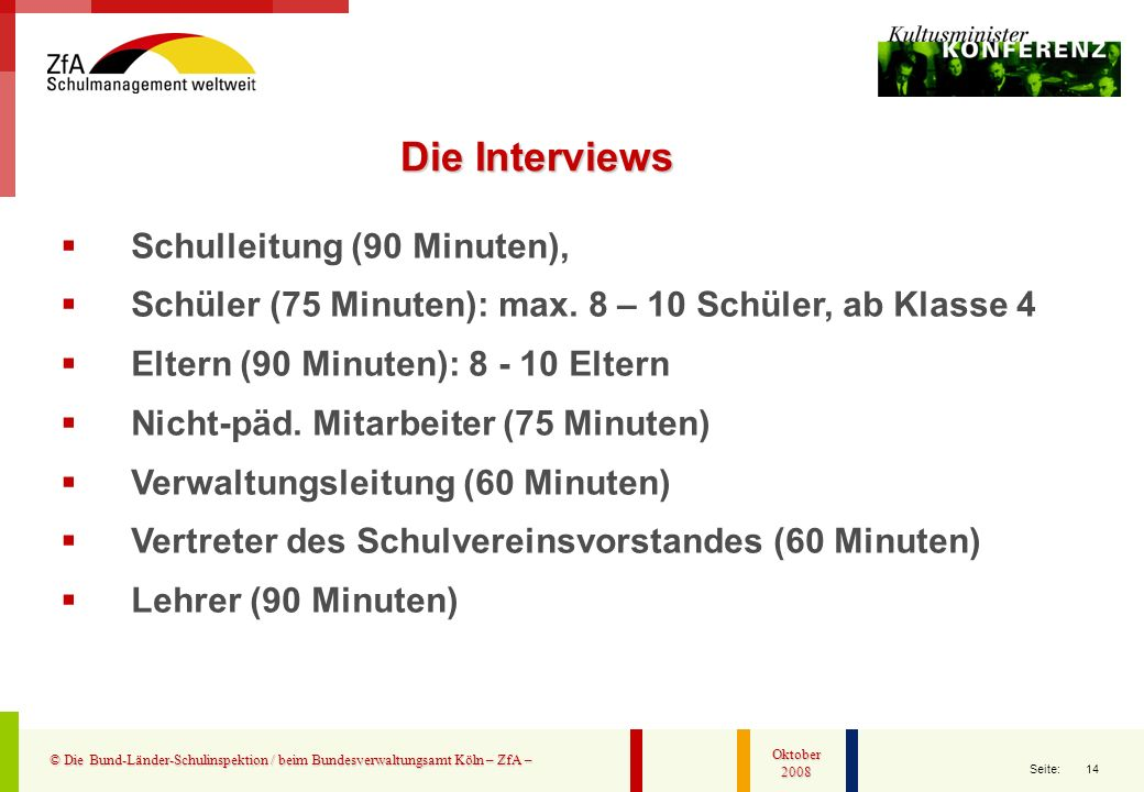 Die Interviews Schulleitung (90 Minuten),
