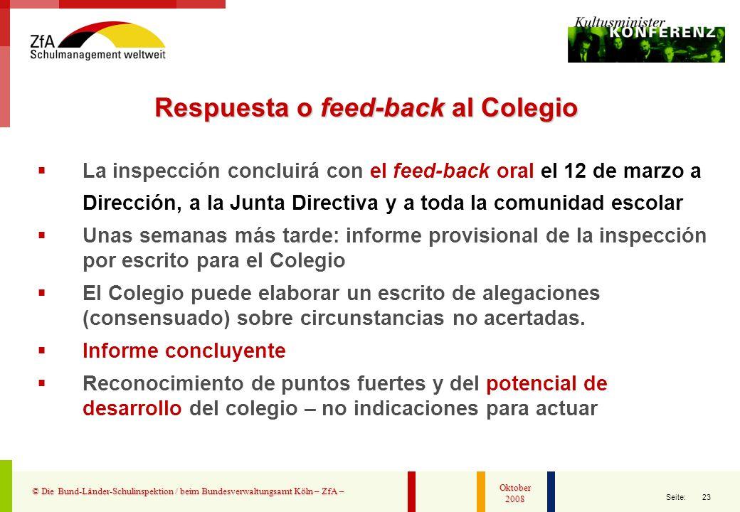 Respuesta o feed-back al Colegio